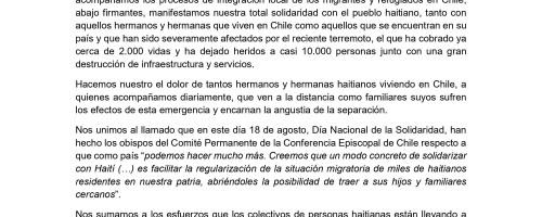 Declaración de la Red Clamor Chile por situación de Haití