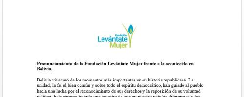 Pronunciamiento de la Fundación Levántate Mujer frente a lo acontecido en Bolivia.
